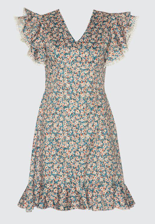 Layered  Sleeve Printed Dress