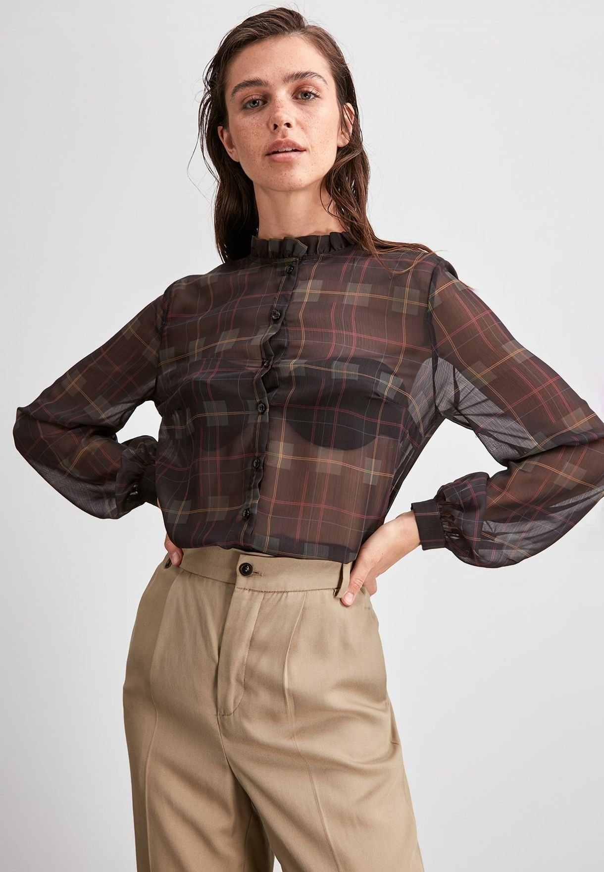 Pleated Neck Printed Shirt