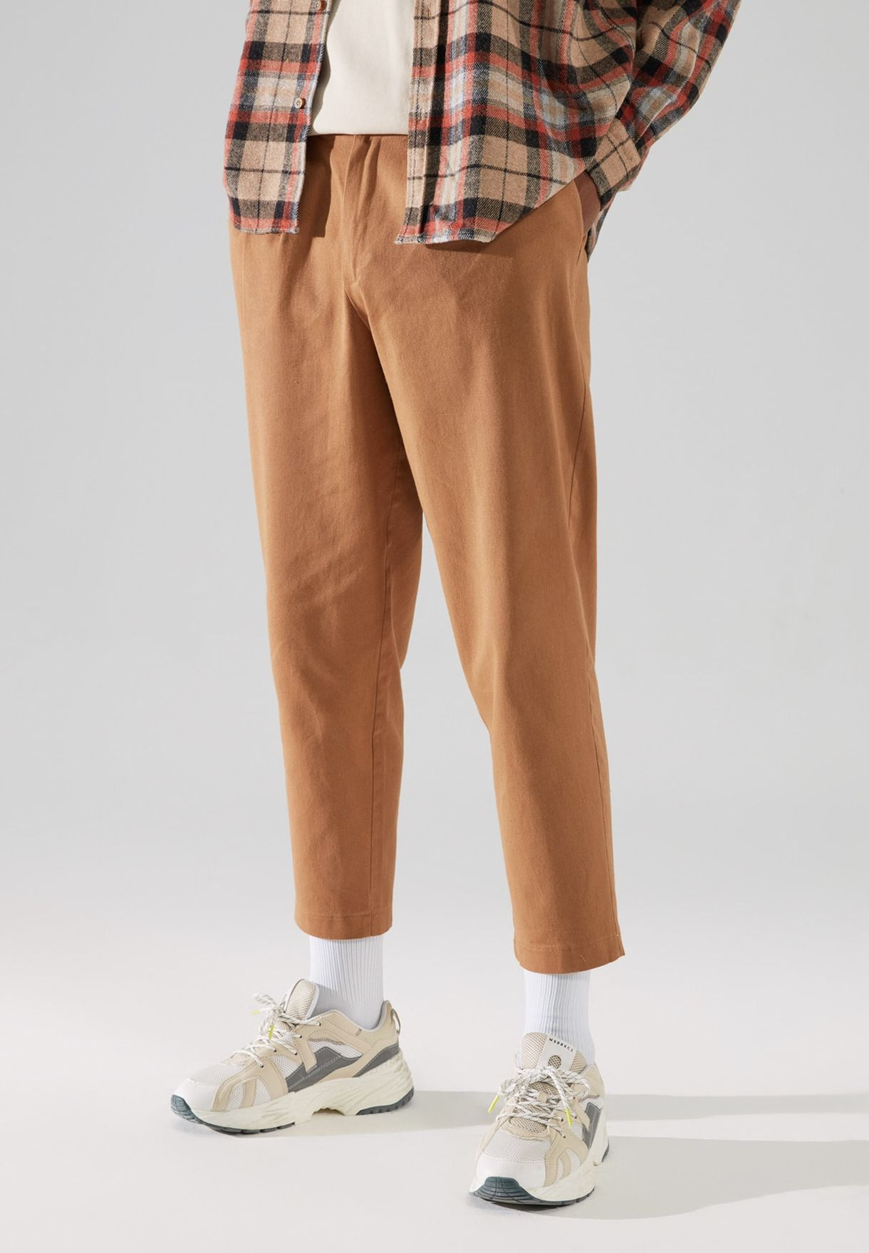 Pleated Cropped Relaxed Fit Trousers