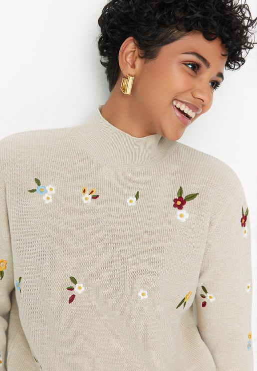 Embroidered High Neck Sweater