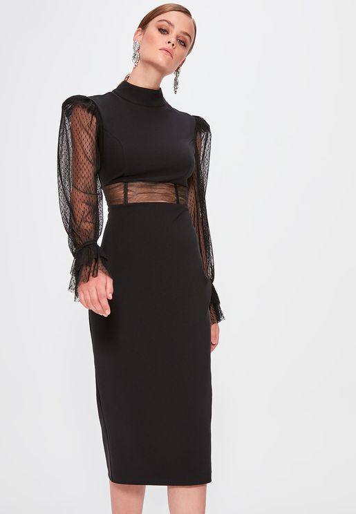 High Neck Mesh Detail Dress