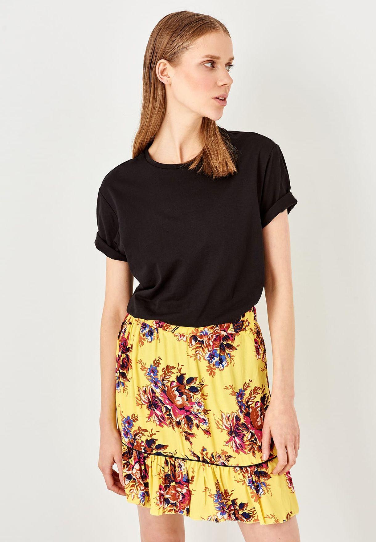 e1bf07f33f Shop Trendyol yellow Floral Print Mini Skirt TWOSS19AP0252 for Women ...