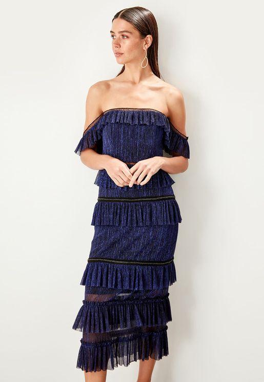 Layered Bardot Dress
