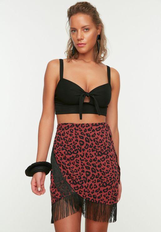 Colorful Leopard Patterned Tassel Detailed Skirt
