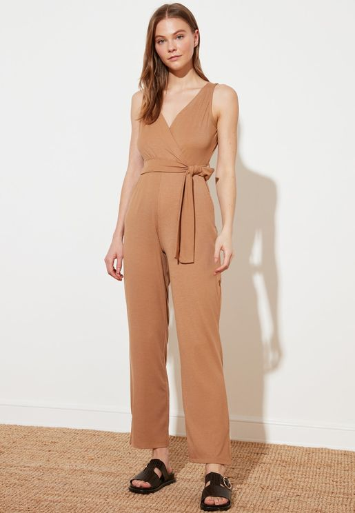Double Breasted Rib Knit Jumpsuit