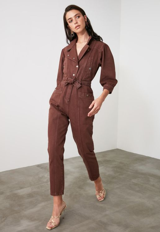 Double Breasted Denim Jumpsuit