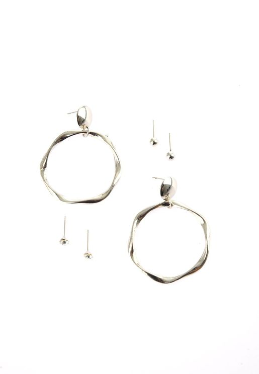 Silver Ring Detail Multi Bijouterie Earring