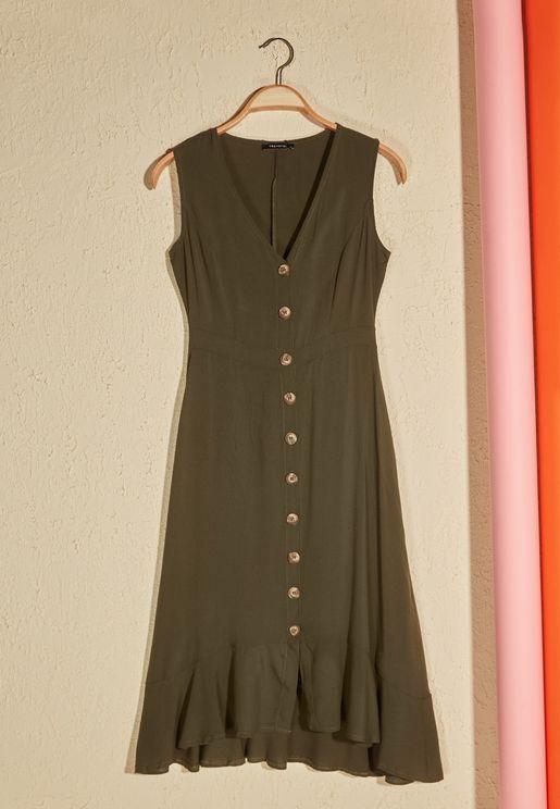 Ruffle Hem Button Down Dress