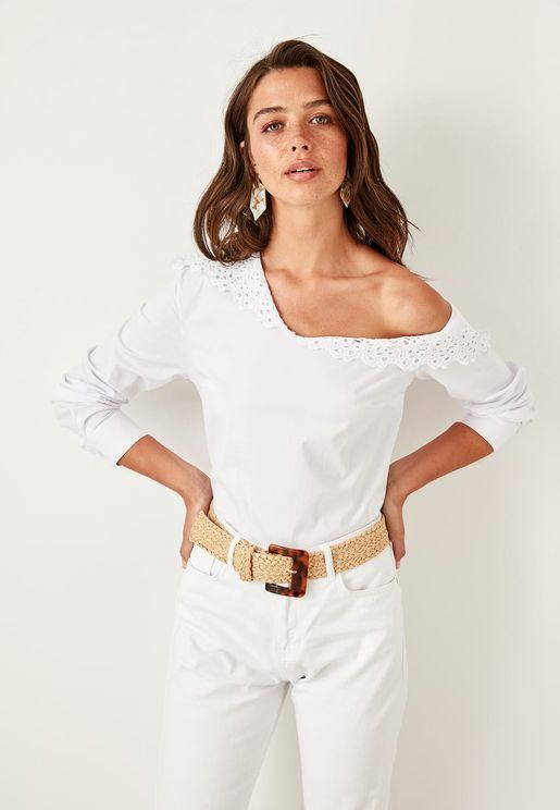 Lace Detail Asymmetric Shoulder Top