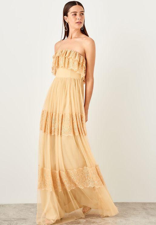 Ruffle Detail Lace Bandeau Dress