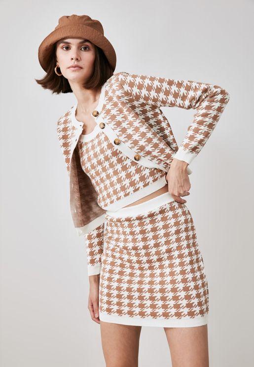 Jacquard Top & Skirt Set