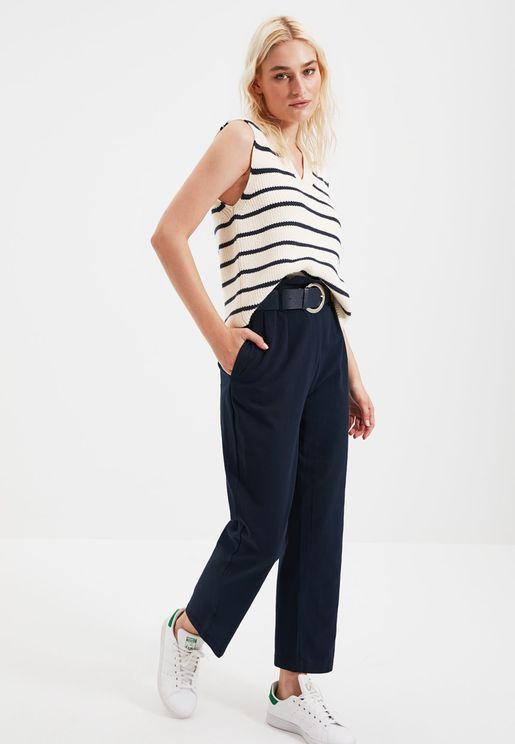 High Waist Seam Detail Pants
