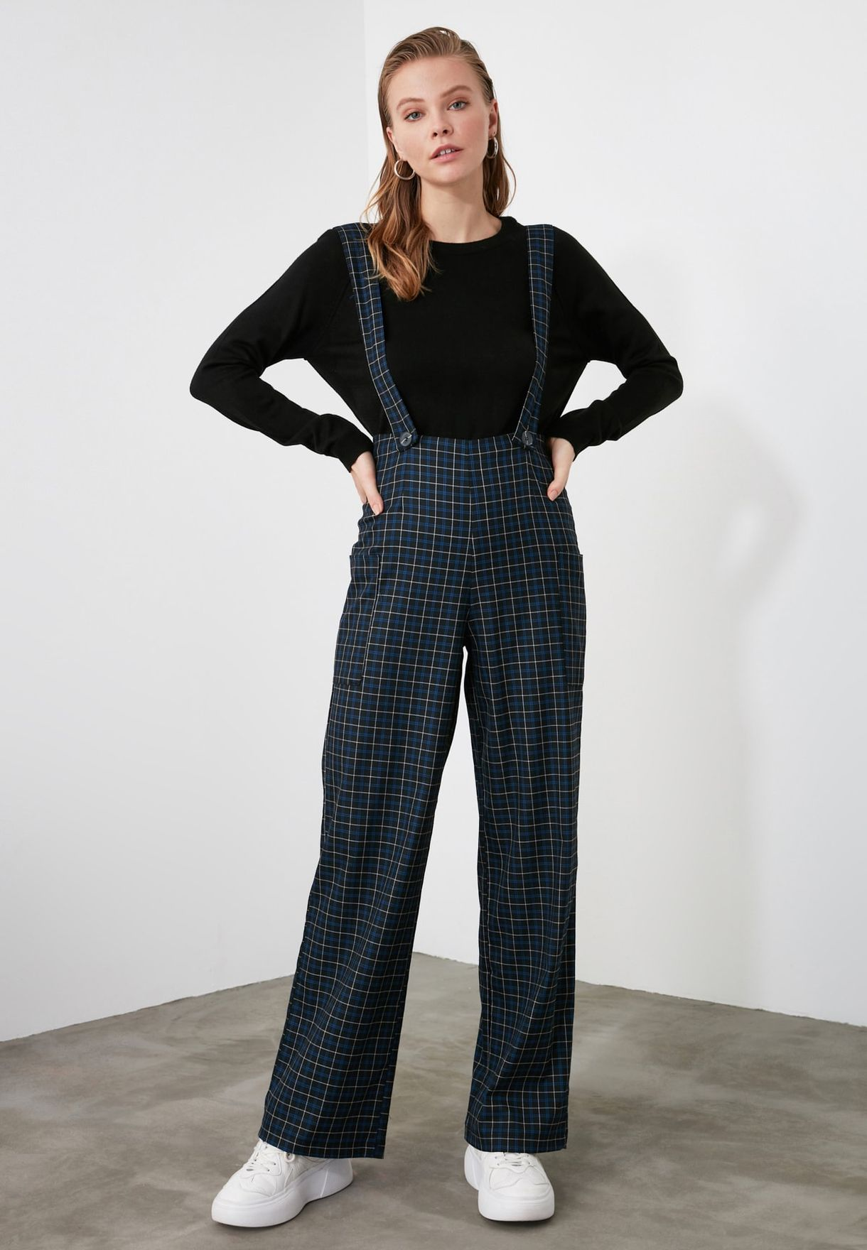 Checked Wide Leg Jumpsuit