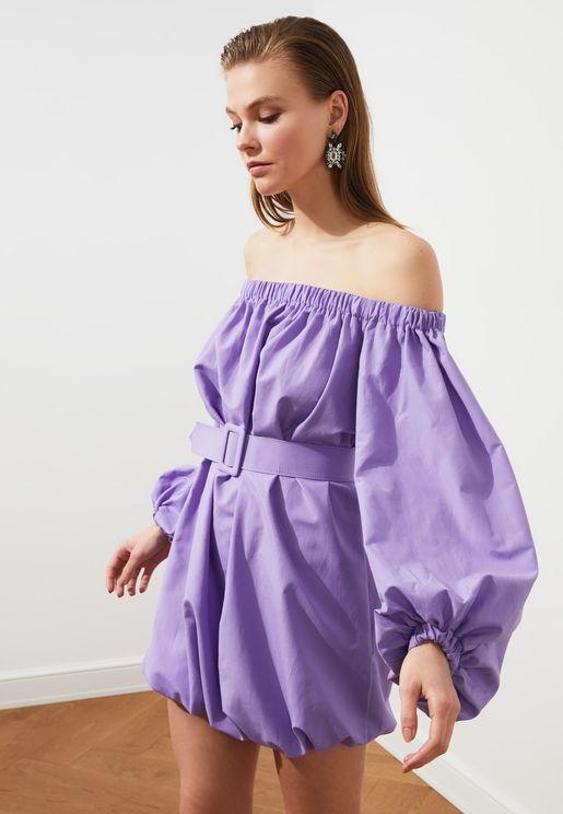 Bardot Balloon Sleeve Dress