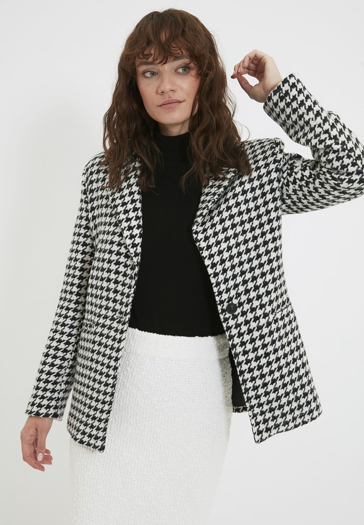 Dogtooth Print Front Open Jacket