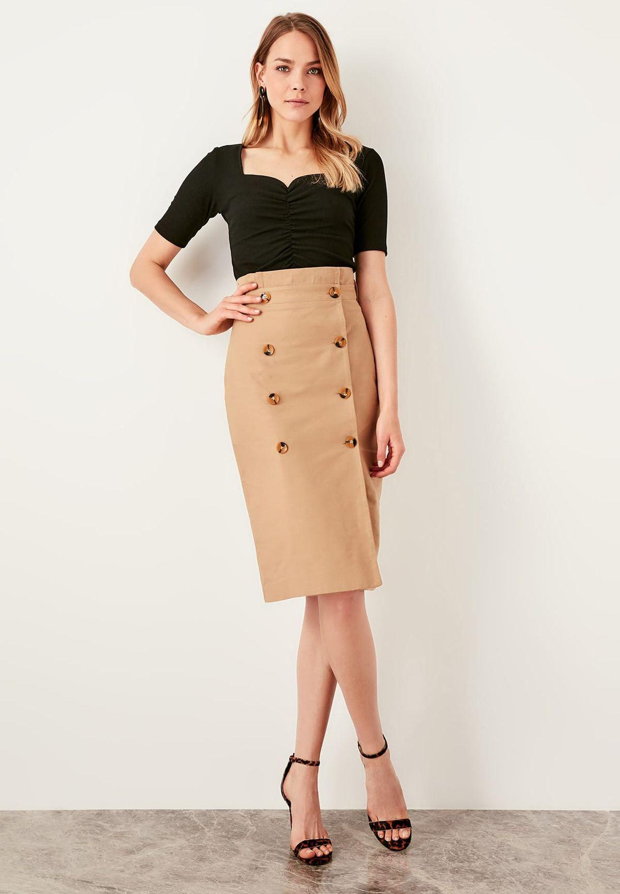 81d076934d Shop Trendyol beige High Waisted Skirt TWOSS19ST0098 for Women in ...