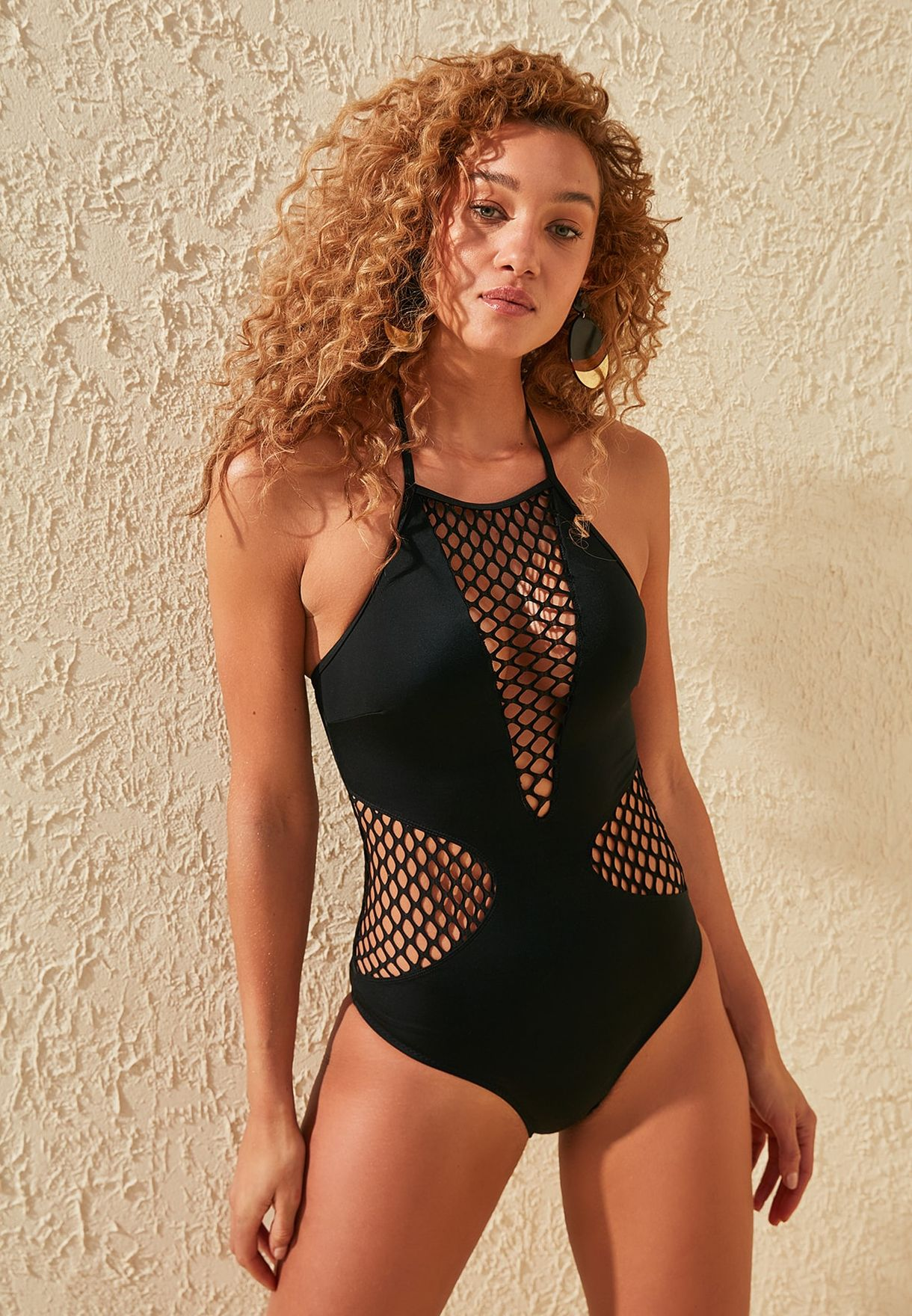 Fishnet Detail Swimsuit