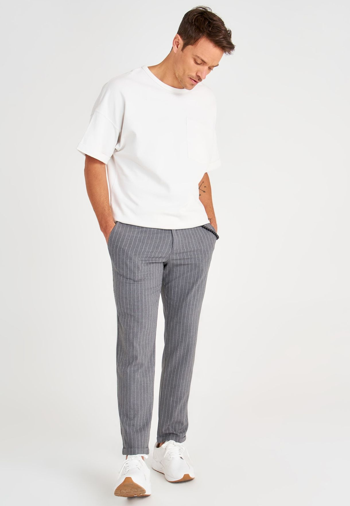 Drawstring Roll Hem Trousers
