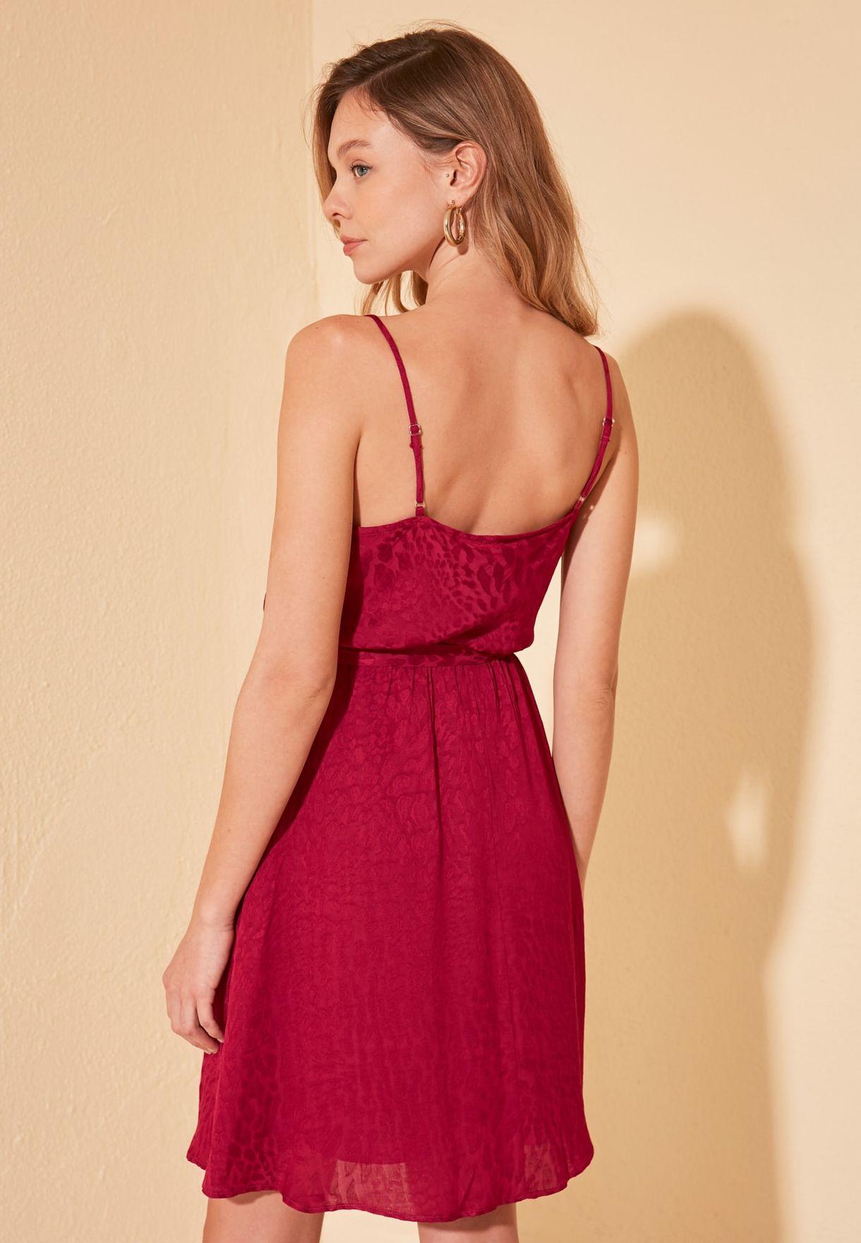 Cowl Neck Jacquard Dress