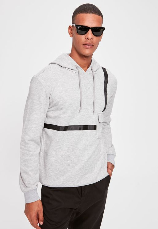 Textured Pocket Detail Hoodie