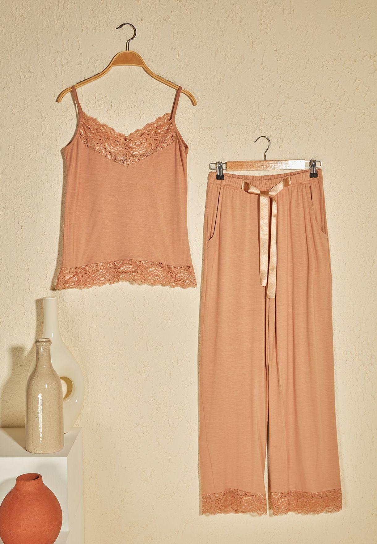 Pleated Cami Top & Pyjama Set
