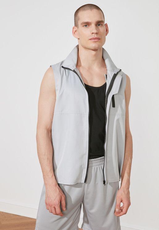 Zip Closure Sleeveless Jacket