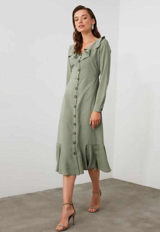Ruffle Detail Button Down Dress
