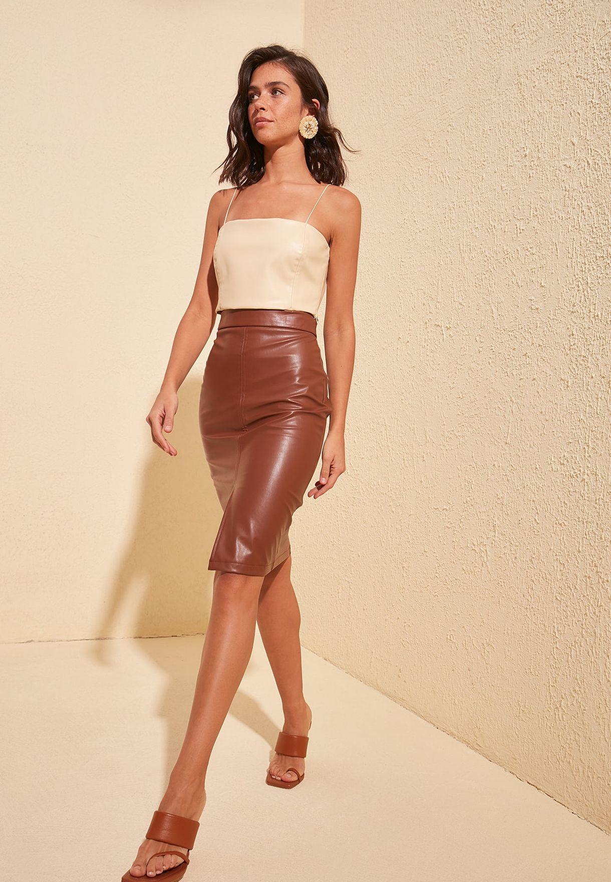 Buy Trendyol Brown Front Split Pu Mini Skirt For Women, Uae 27680at9kqgp