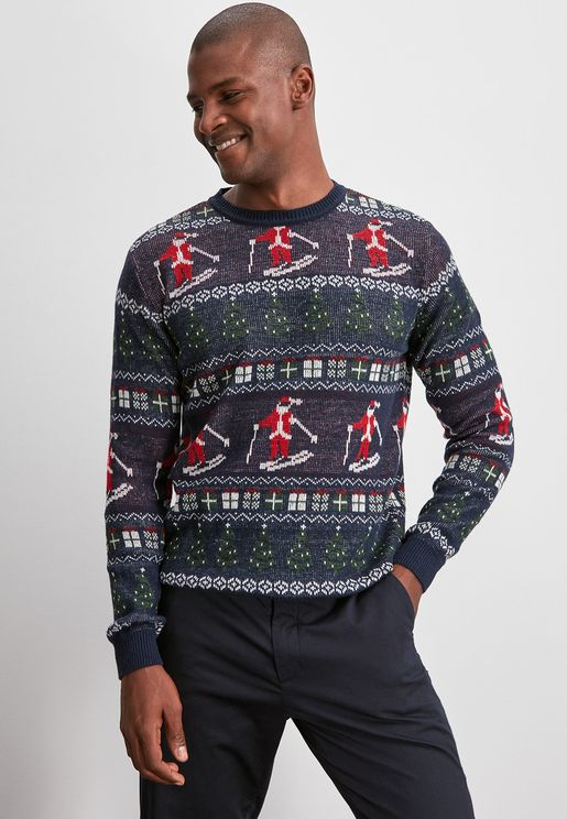 Jacquard Christmas Themed Sweater