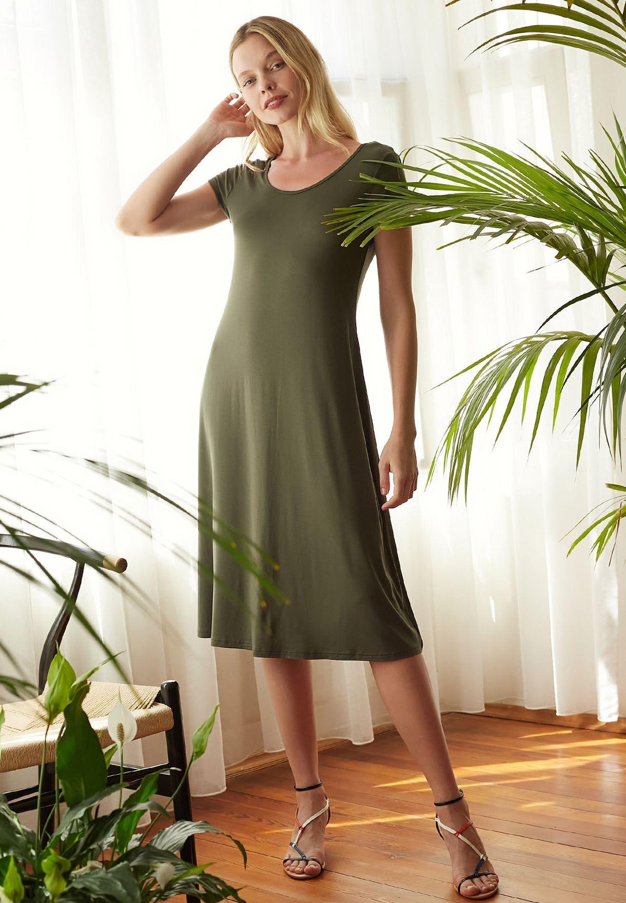 Scoop Neck T-Shirt Dress