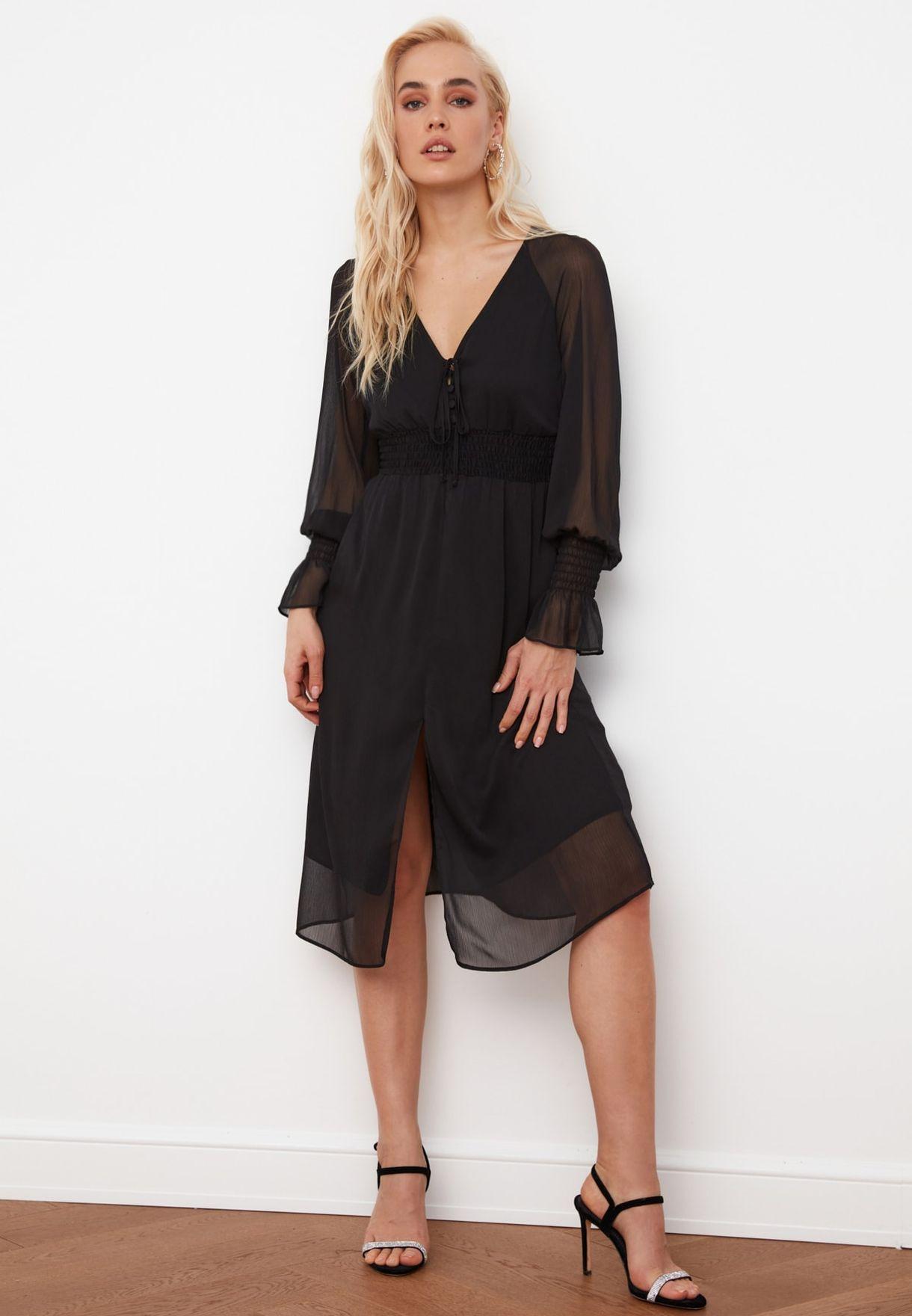 Mesh Sleeve Knitted Dress