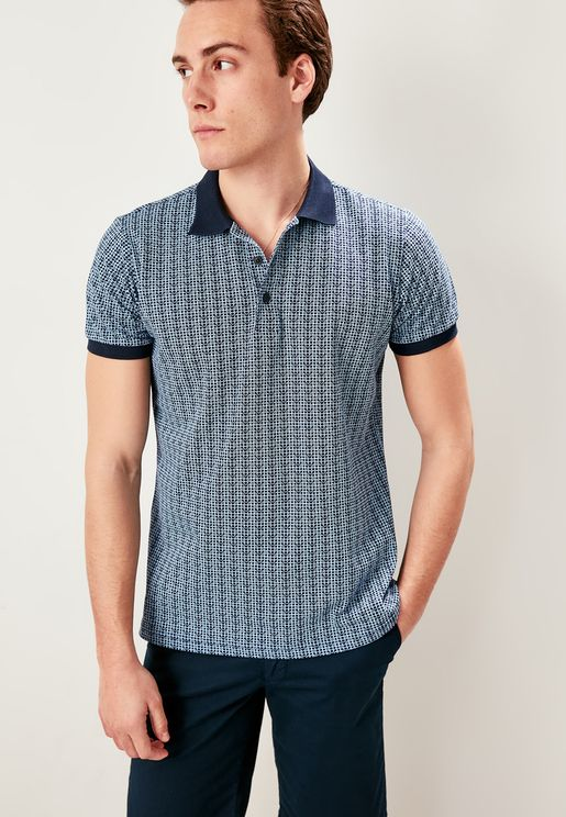 Contrast Edge Printed Polo