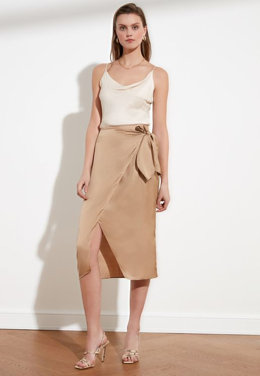 Side Tie Wrap Midi Skirt