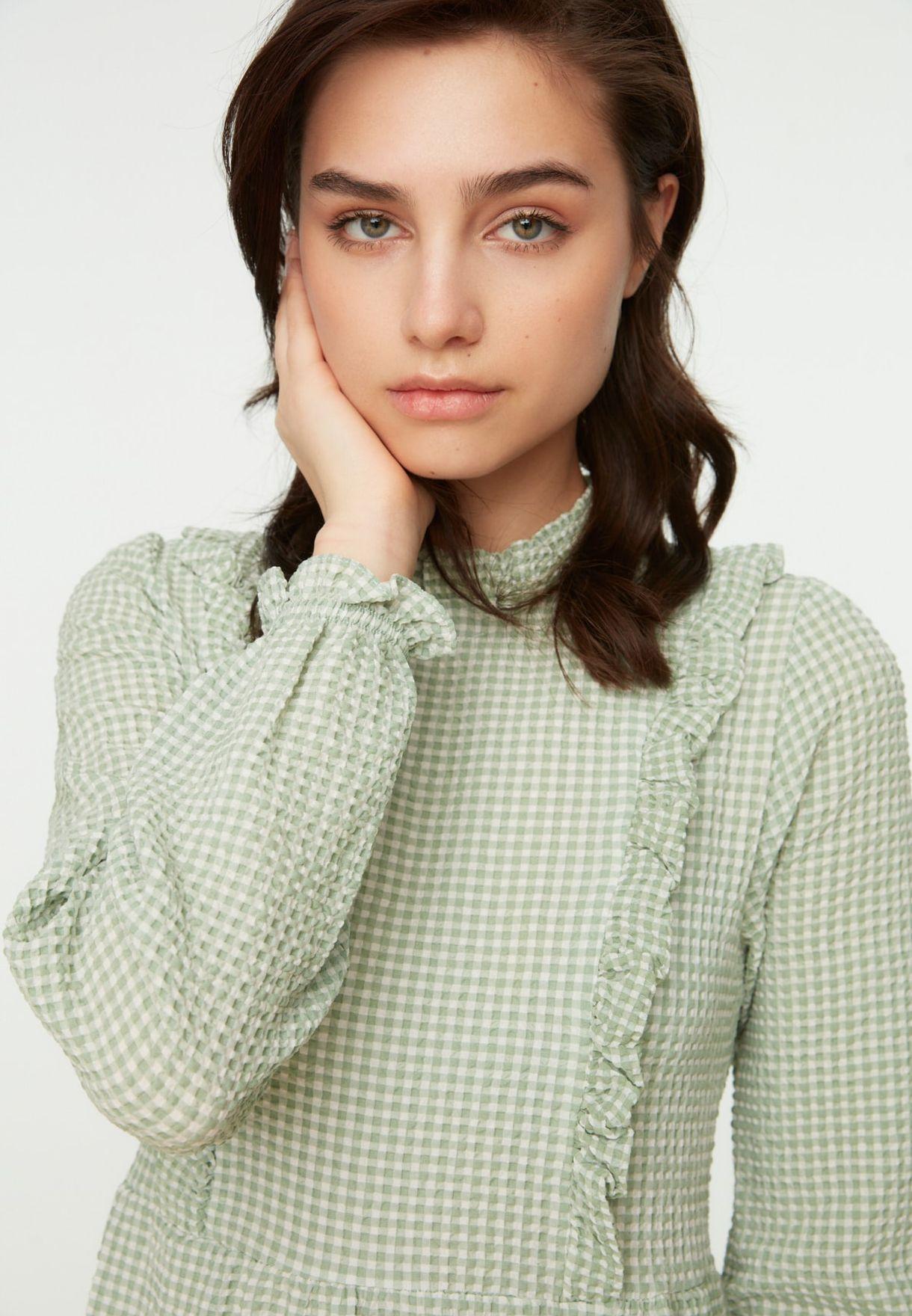 High Neck Checked Dress