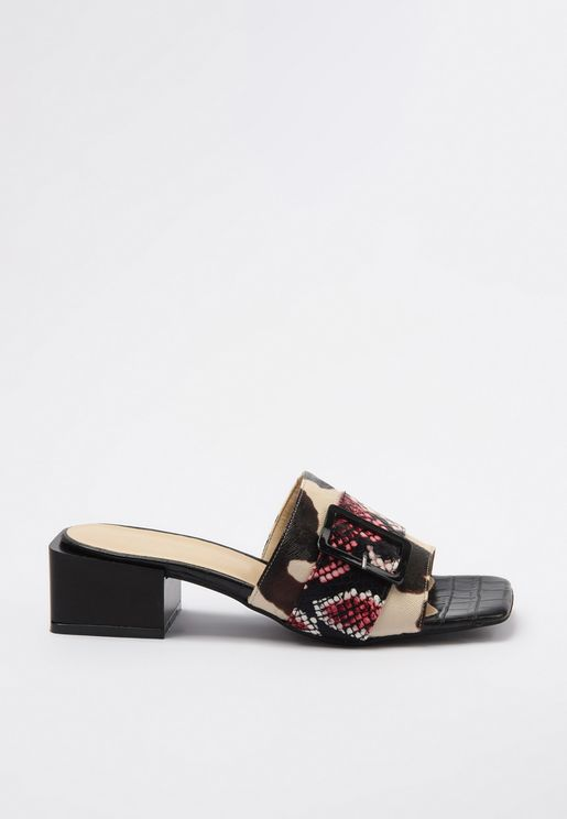 Buckle Detail Wide Strap Sandal