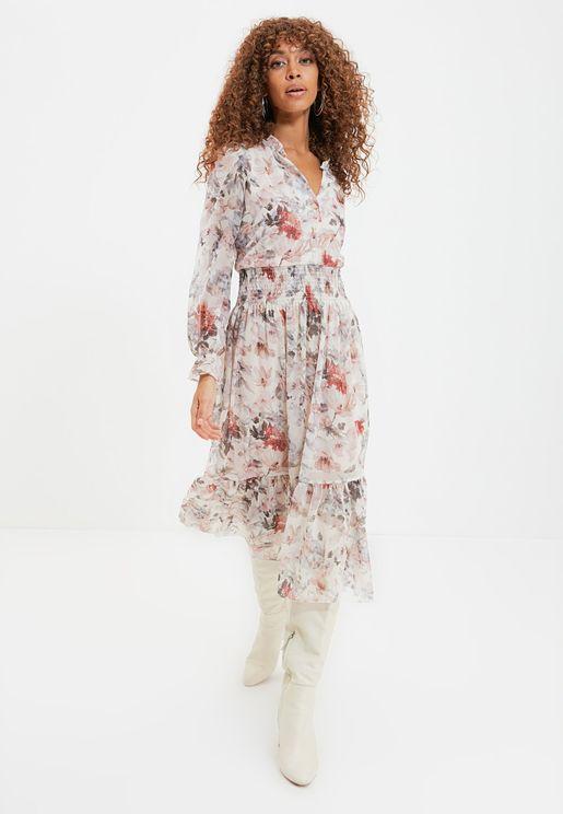 Shirred Waist Floral Print Dress