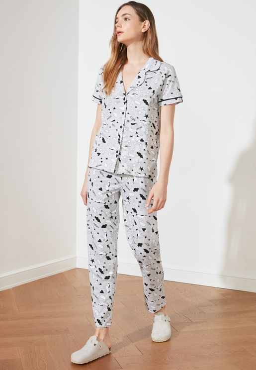 Printed Shirt & Pyjama Set