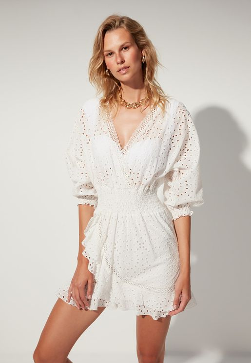 Embroidered Knitted Dress