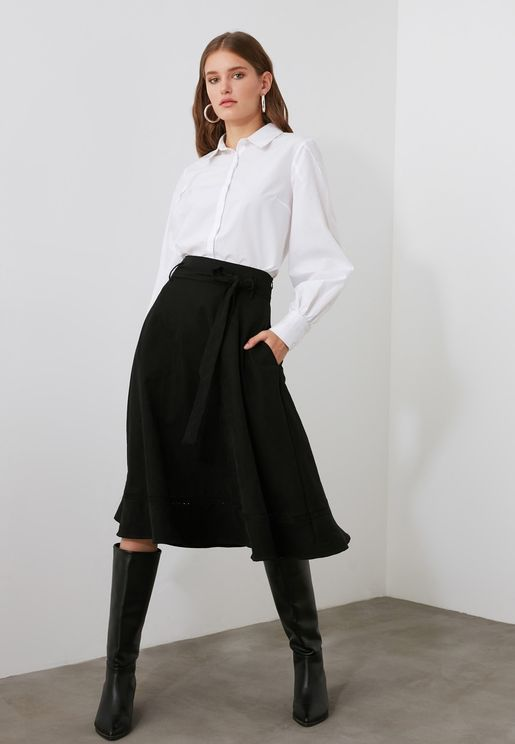 Pocket Detail Midi Skirt