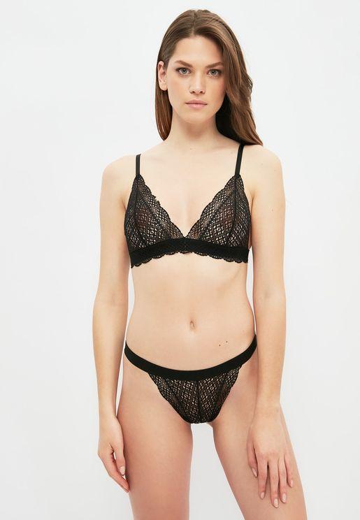 Lace Detail Plunge Bra & Thong Set