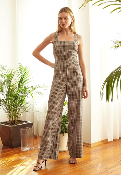Wide Strap Plaid Jumpsuit