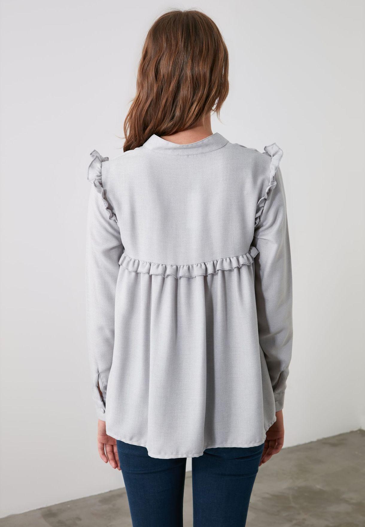 Pleated Overlay Shirt