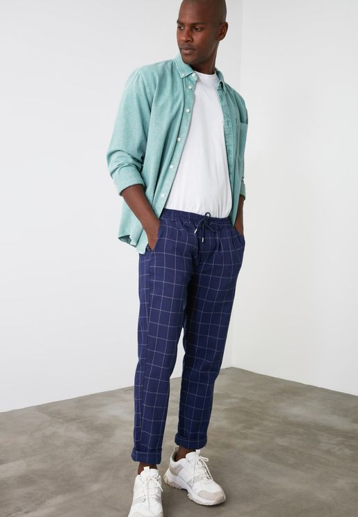Checked Drawstring Relaxed Trousers
