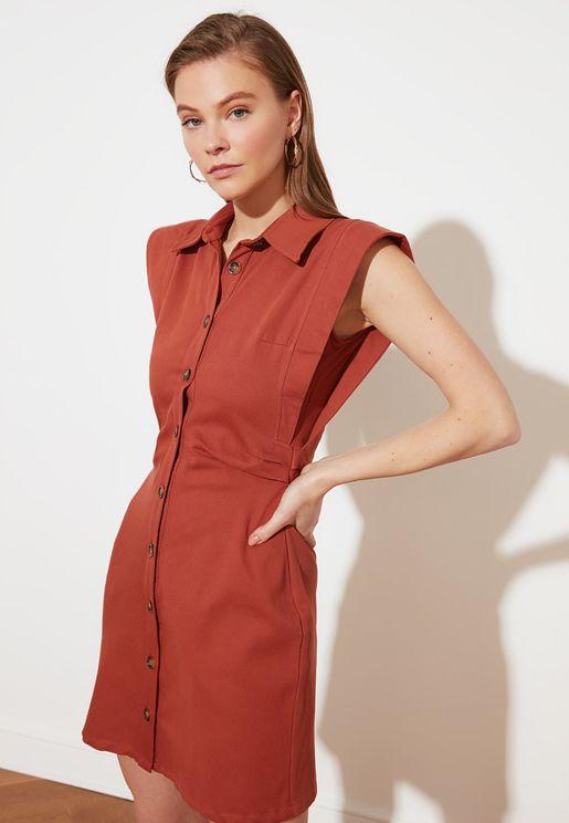Shoulder Detail Shirt Dress