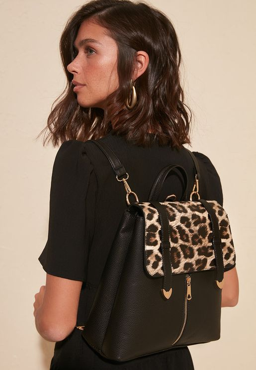 Animal Print Detail Backpack