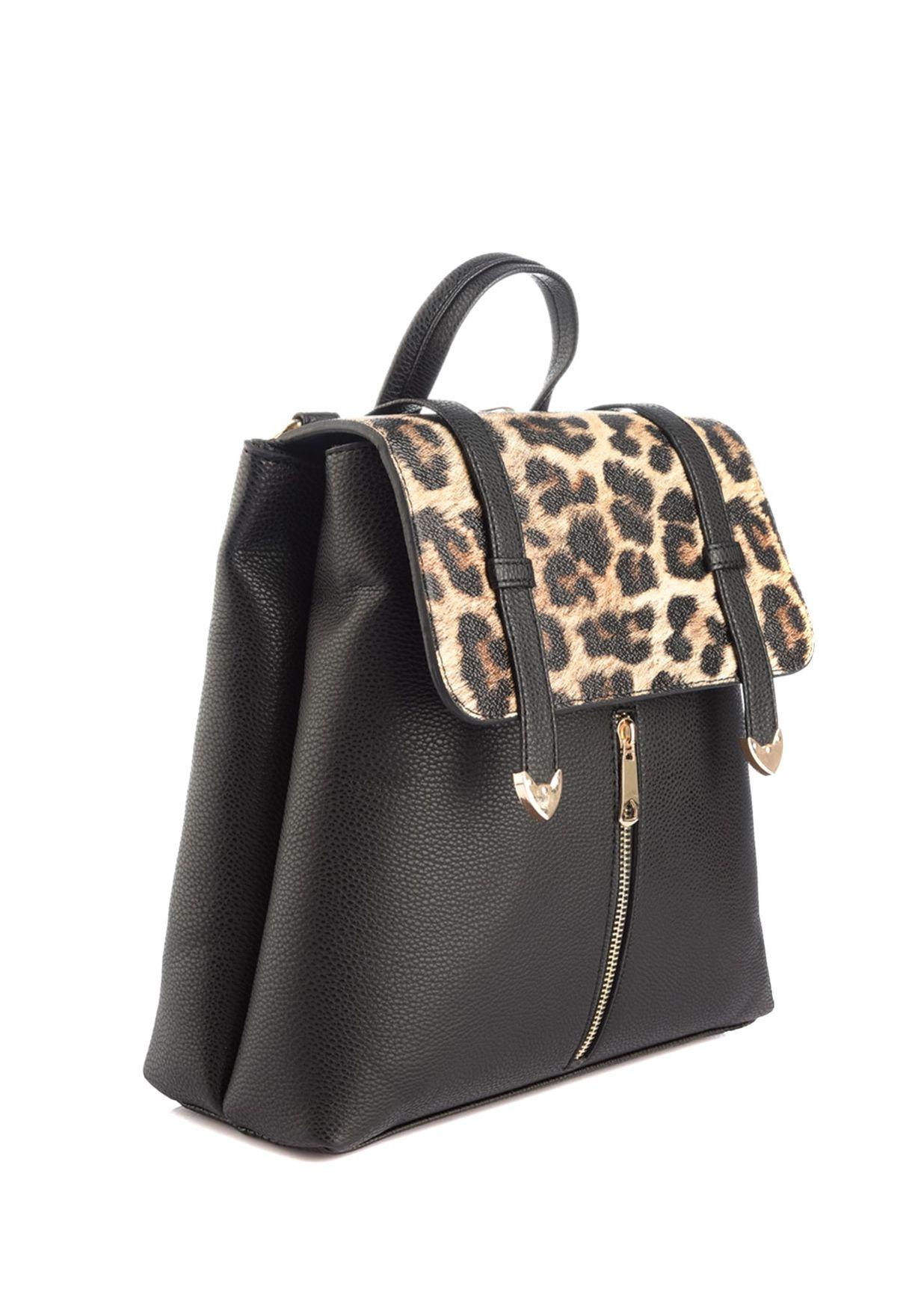 Animal Print Detail Backpack