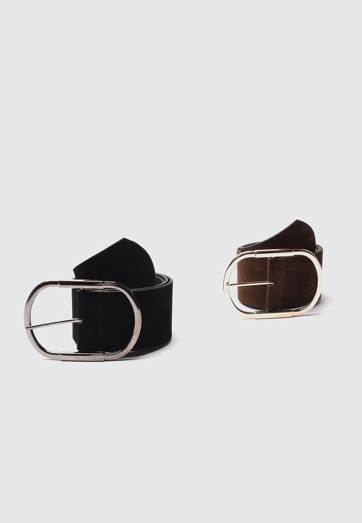 2-Pack Buckle Suede Belt