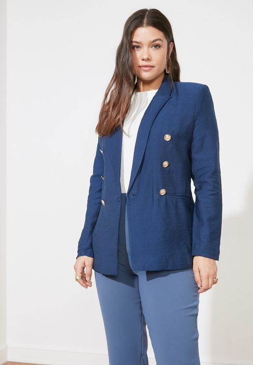 Button Detail Tailored Blazer