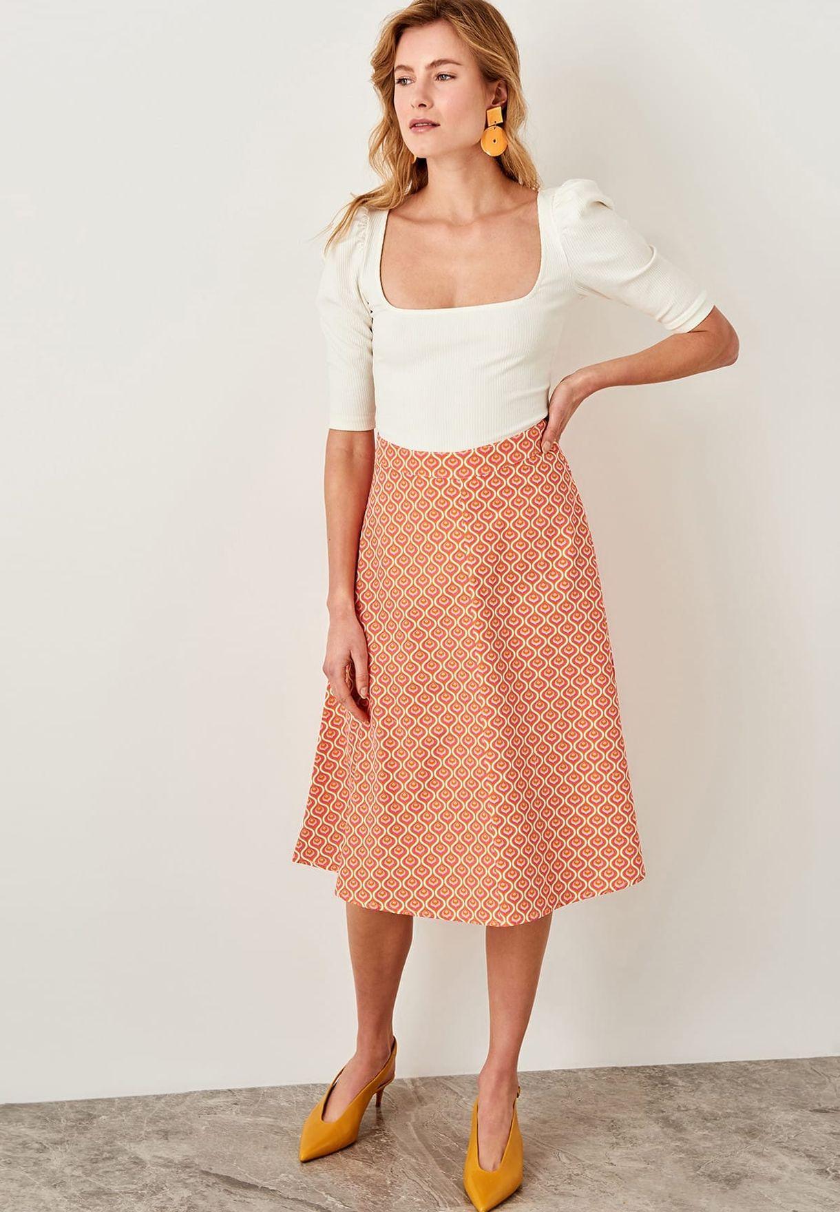 cbe50d9320 Shop Trendyol orange Printed Midi Skirt TWOSS19RM0011 for Women in ...