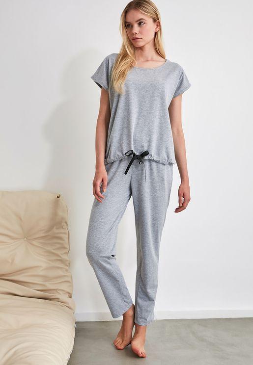 Textured Cap Sleeve T-Shirt & Pyjama Set